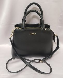 DKNY Paige Medium Leather Satchel Black & Gold NWT